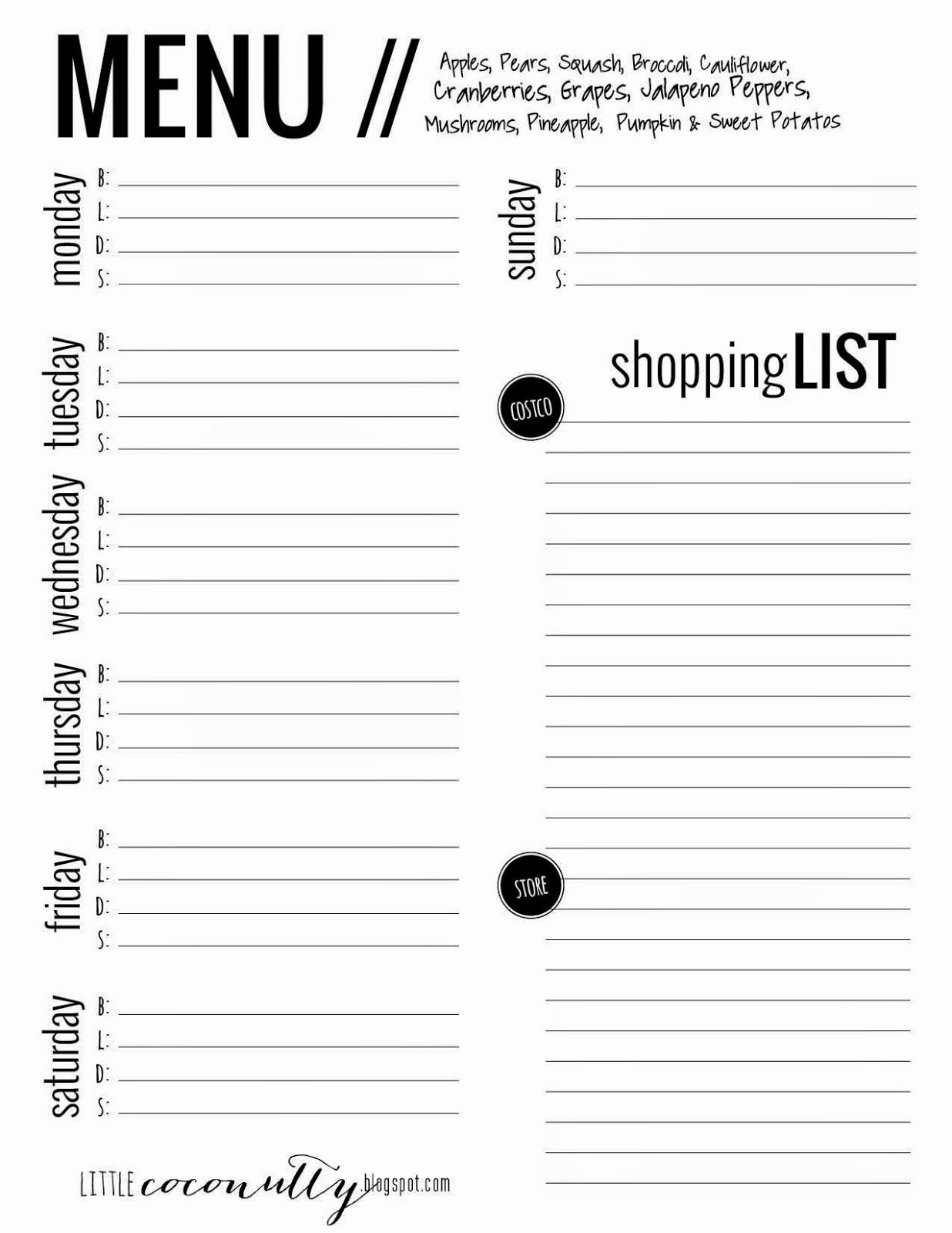 Menu Planner Template Printable New Little Coconutty Free Menu Planner Printable Grocery
