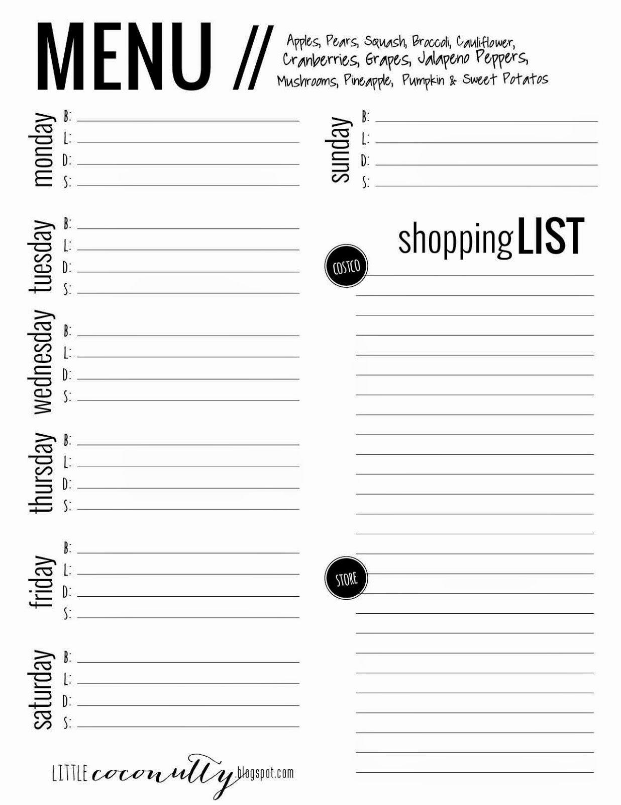 Menu Planner Template Printable New Little Coconutty Free Menu Planner Printable Grocery