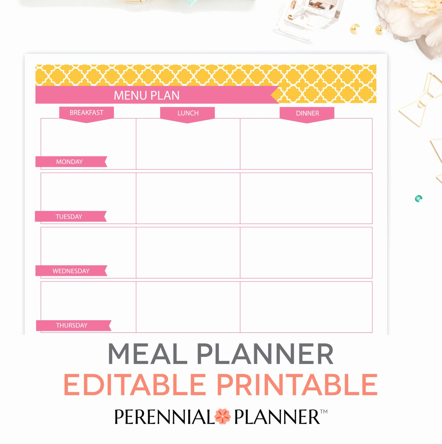 Menu Planner Template Printable Unique Menu Plan Weekly Meal Planning Template Printable Editable