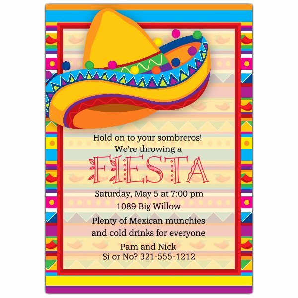 Mexican Party Invite Template Awesome Big sombrero Fiesta Invitations