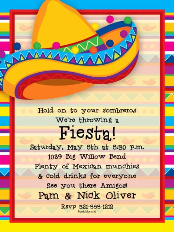 Mexican Party Invite Template Awesome Big sombrero Fiesta Party Invitation Mexican Party