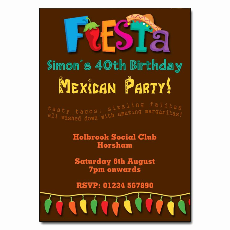 Mexican Party Invite Template Awesome Mexican Fiesta Party Invitations