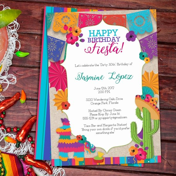 Mexican Party Invite Template Beautiful Birthday Fiesta Mexican Style Party Invitation Template
