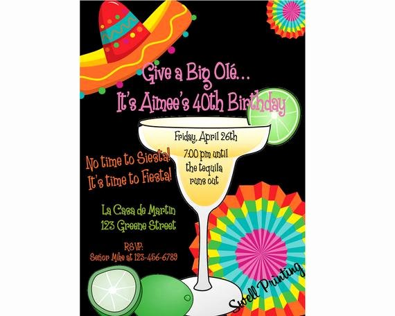 Mexican Party Invite Template Best Of Fiesta Birthday Party Margarita Party Invitation Mexican