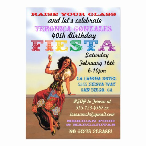 "Mexican Party Invite Template Fresh Mexican Fiesta Pin Up Birthday Party Invitations 5"" X 7"