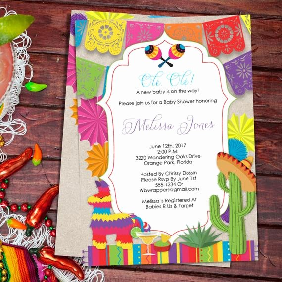 Mexican Party Invite Template Inspirational Baby Shower Fiesta Mexican themed Baby Shower Invitation