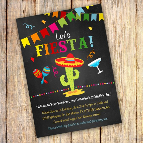 Mexican Party Invite Template Inspirational Mexican Fiesta Birthday Party Invitation Template Edit