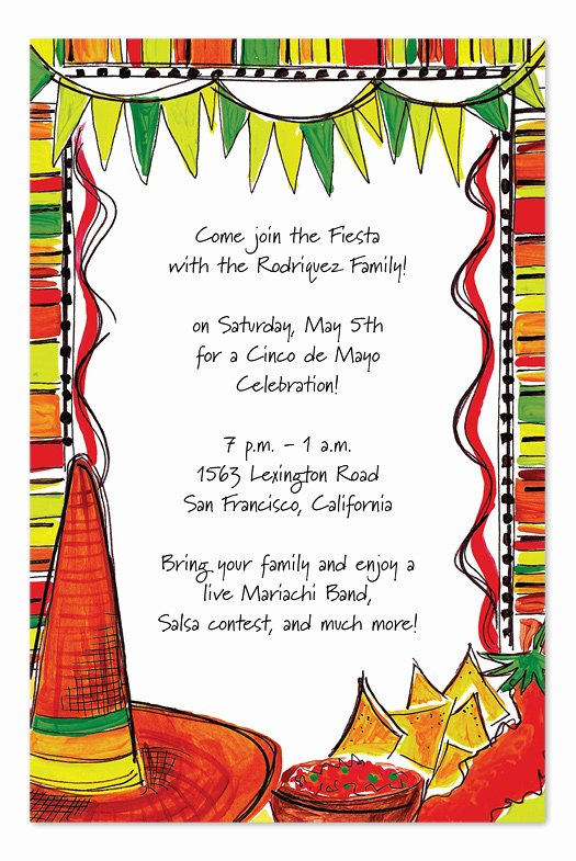 Mexican Party Invite Template Inspirational Mexican Fiesta Party Invitations by Invitation