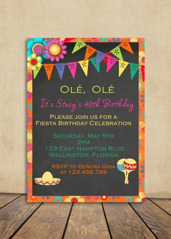 Mexican Party Invite Template Lovely Fiesta Birthday Invitation Mexican Fiesta Party Invite