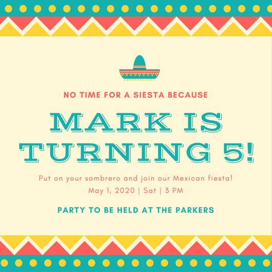 Mexican Party Invite Template New Birthday Invitation Templates Canva