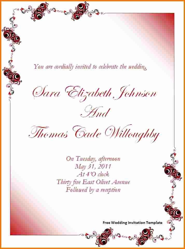 Microsoft Office Invitation Template Elegant Free Wedding Invitation Templates for Word