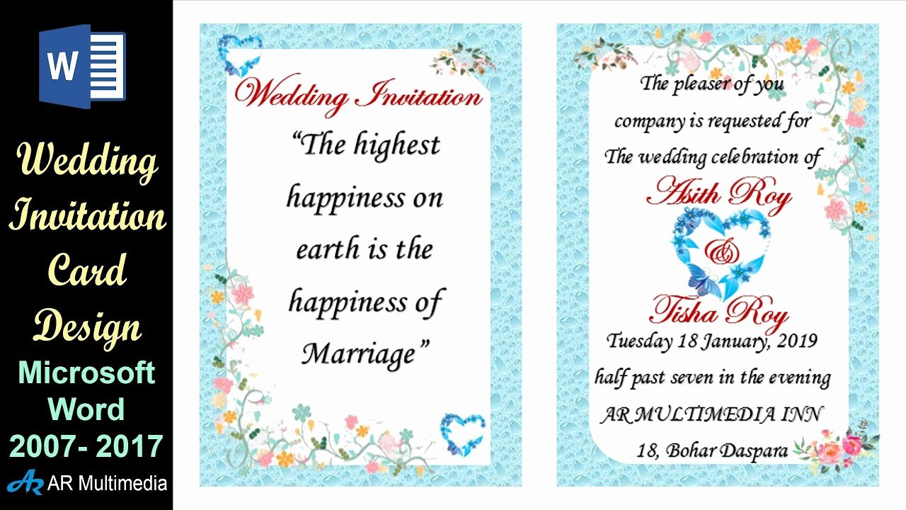 Microsoft Office Wedding Invitation Template Beautiful Ms Word Tutorial Professional Wedding Invitation Card