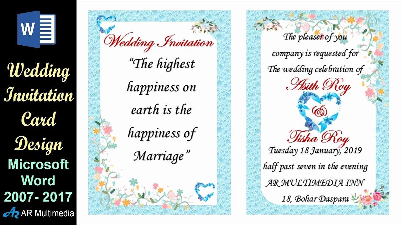 Microsoft Office Wedding Invitation Template Beautiful Ms Word Tutorial Professional Wedding Invitation Card
