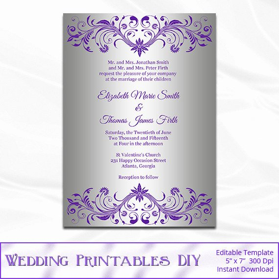 Microsoft Office Wedding Invitation Template Unique Silver Foil Wedding Invitation Template Diy Purple and Silver