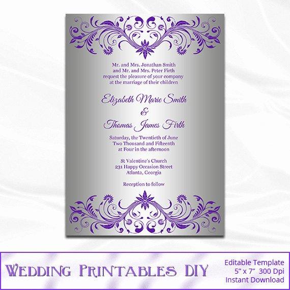 Microsoft Office Wedding Invitation Template Unique Silver Foil Wedding Invitation Template Diy Purple and Silver