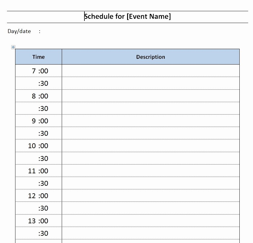 Microsoft Word Schedule Template Best Of Daily event Schedule Template Free Microsoft Word Templates