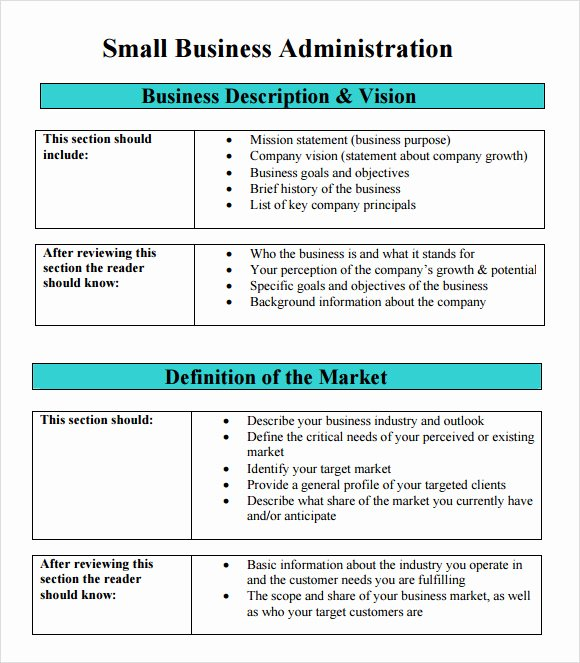 Mini Business Plan Template Beautiful Free 8 Sample Sba Business Plan Templates In Pdf