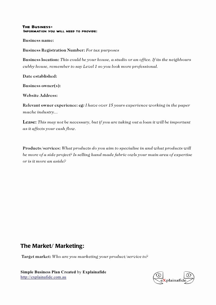 Mini Business Plan Template Lovely Free Small Business Plan Template