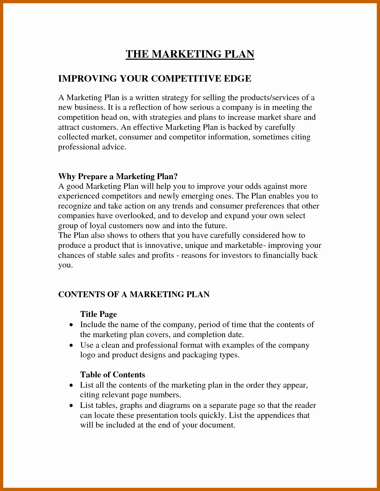 Mini Business Plan Template Luxury 3 4 Example Of A Marketing Plan