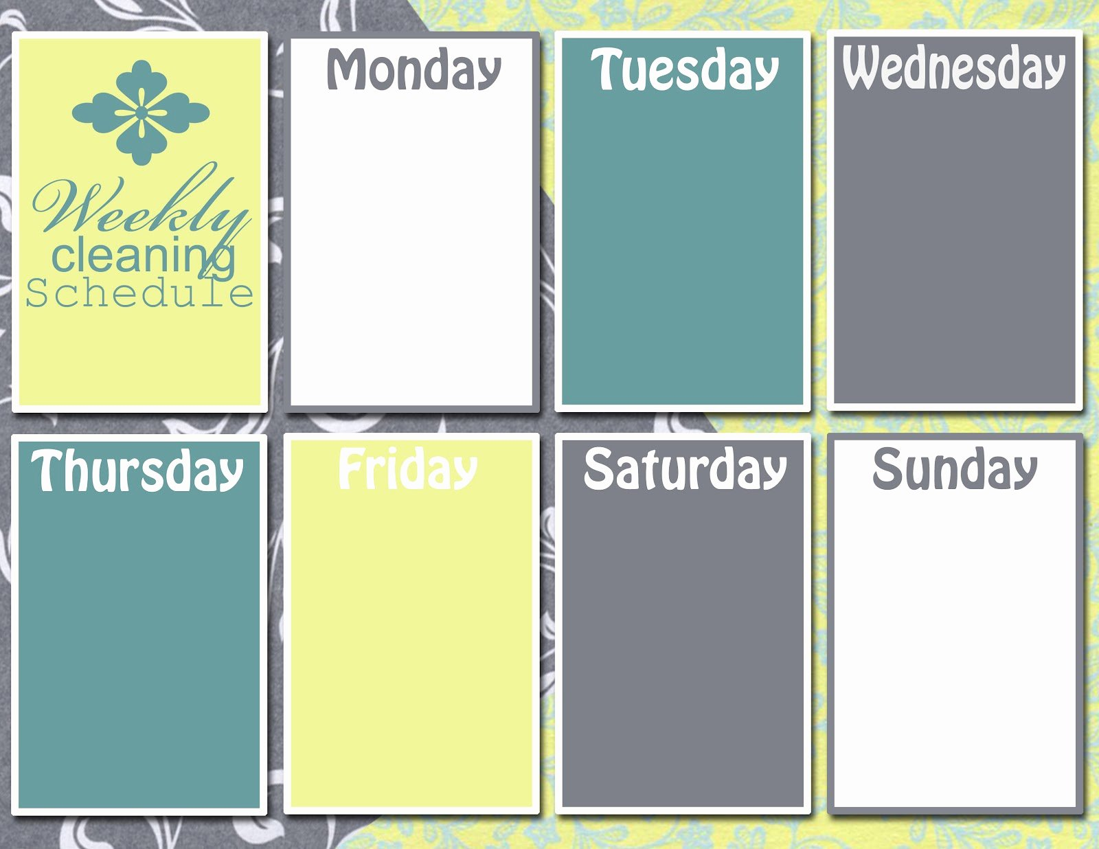 Monday Through Sunday Schedule Template Beautiful Graphic Monday Weekly Cleaning Schedule