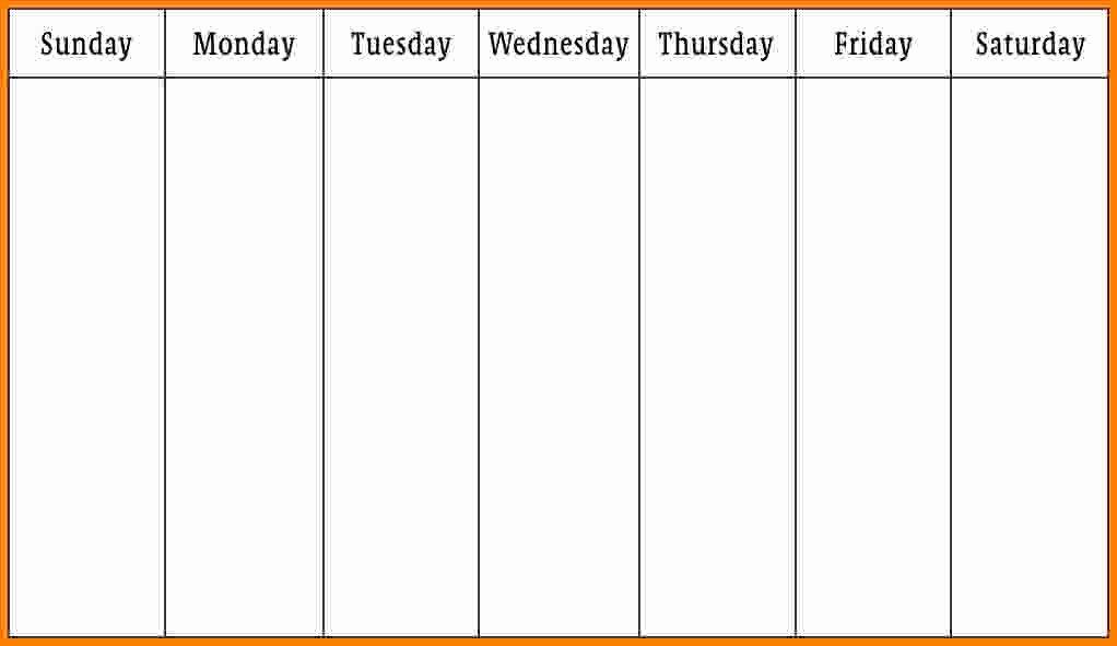Monday Through Sunday Schedule Template Fresh 10 Monday Thru Friday