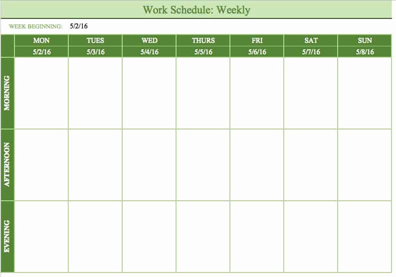 Monday Through Sunday Schedule Template Luxury Free Work Schedule Templates for Word and Excel