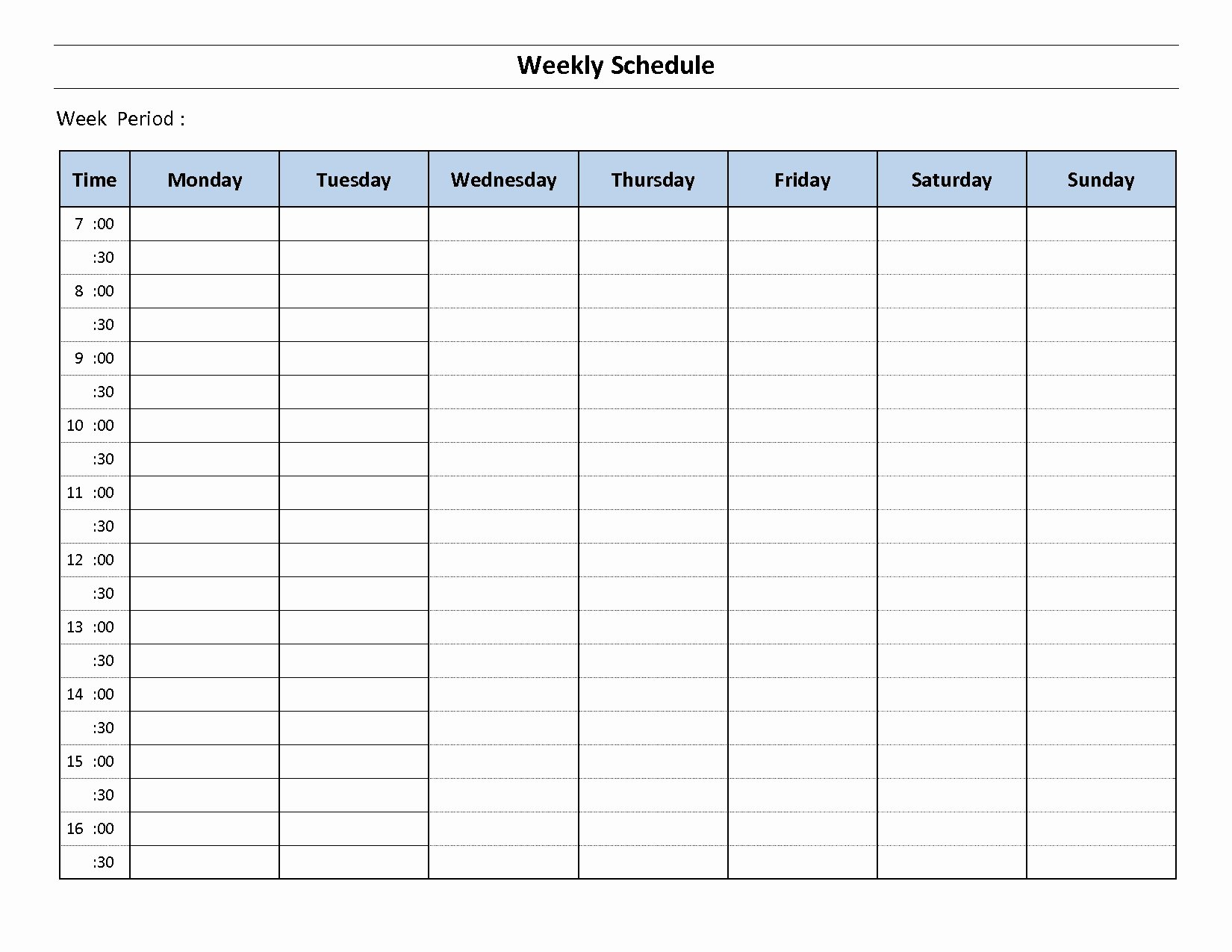 Monday Through Sunday Schedule Template New Printable Weekly Calendar Monday to Sunday – Template