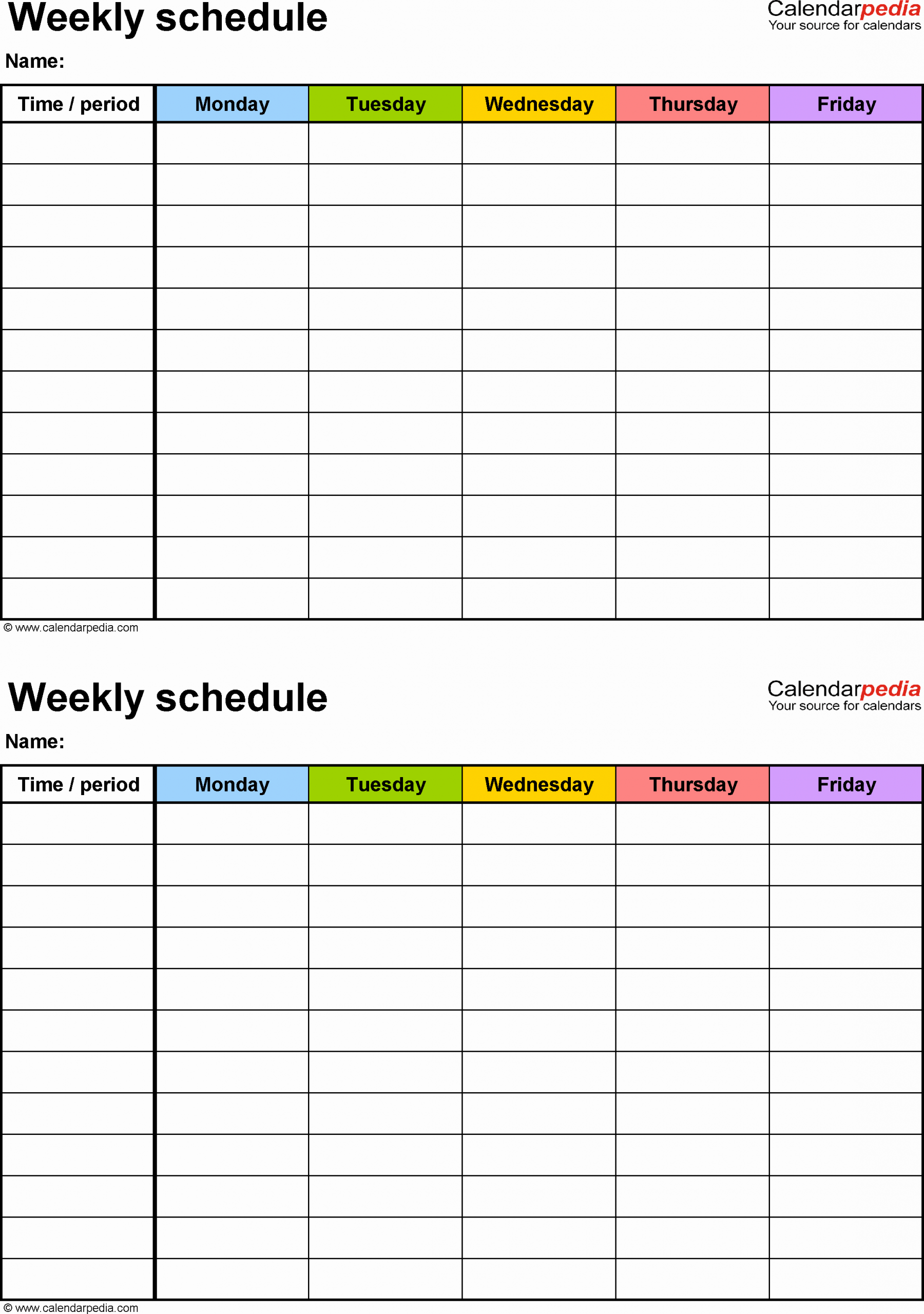 Monday to Friday Schedule Template Awesome Free Weekly Schedule Templates for Word 18 Templates