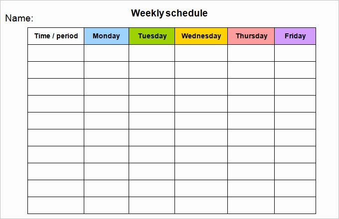 Monday to Friday Schedule Template Beautiful Week Calendar Template 12 Free Word Documents Download