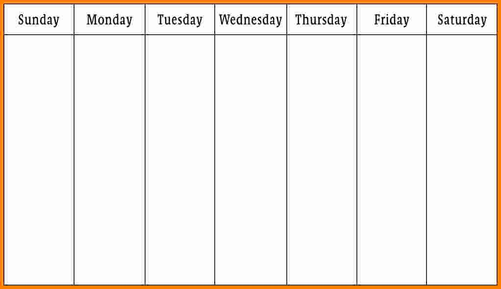 Monday to Friday Schedule Template Fresh 10 Monday Thru Friday