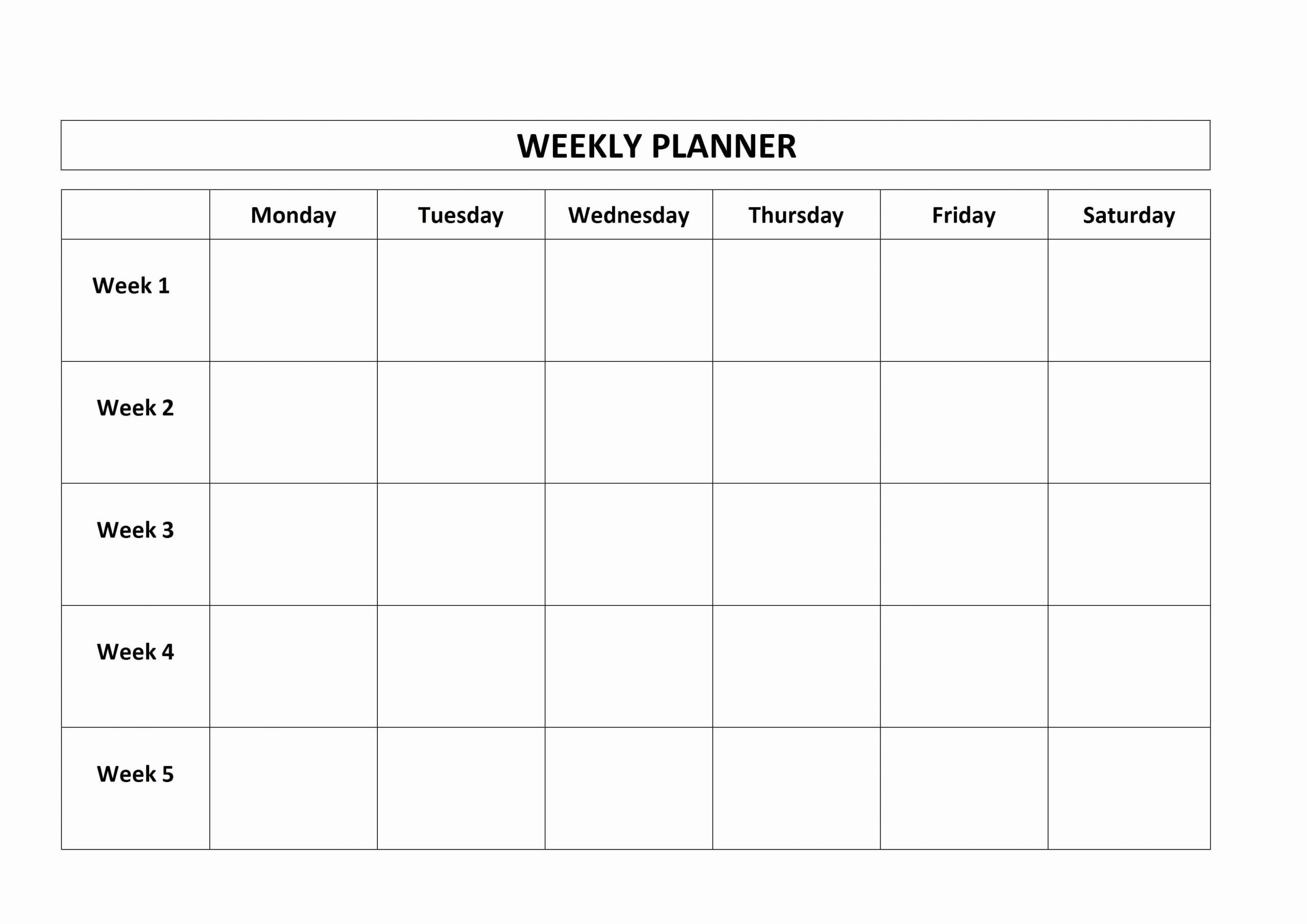 Monday to Friday Schedule Template Fresh 5 Day Calendar Template Vaydileforic Blank