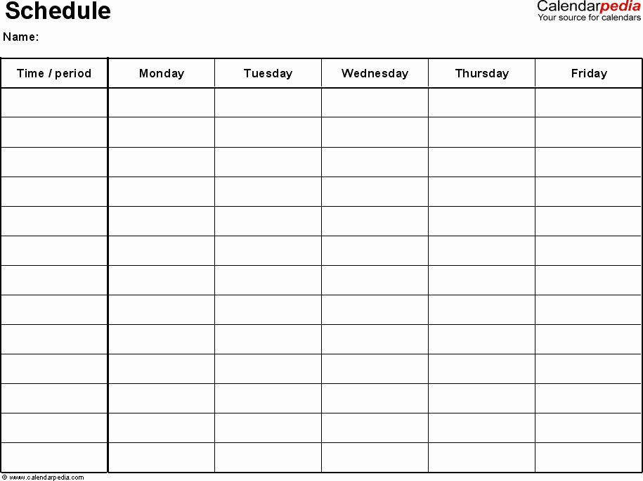 Monday to Friday Schedule Template Fresh Free Weekly Schedule Templates for Excel 18 Templates