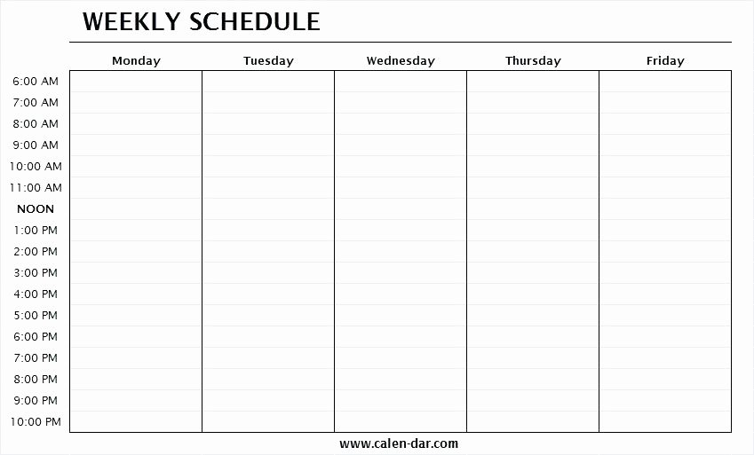 Monday to Friday Schedule Template Lovely Monday to Friday Calendar Template – Sharpbit