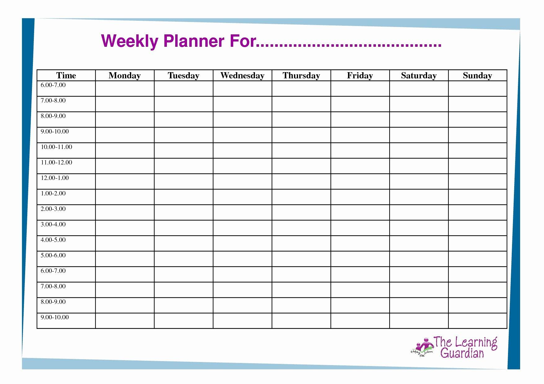 Monday to Friday Schedule Template Luxury June 2018 – Template Calendar Design