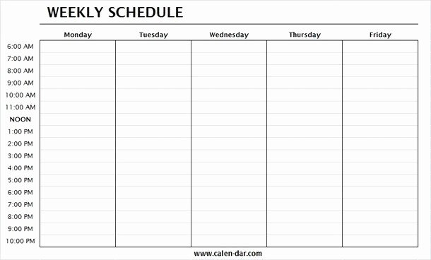 Monday to Friday Schedule Template Luxury Printable Employee Schedule