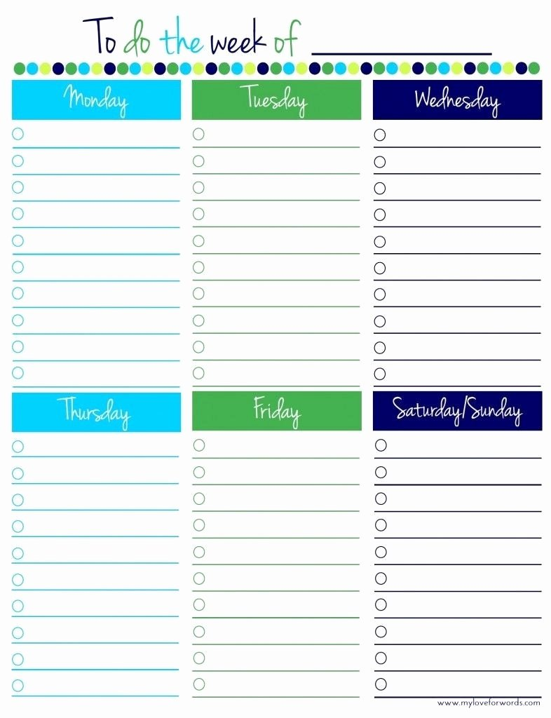 Monday to Friday Schedule Template Unique Monday to Friday to Do List Template