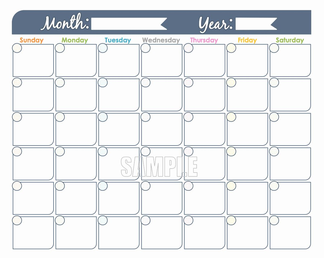 Monthly Calendar Schedule Template Fresh Monthly Calendar Printable Undated Editable Family