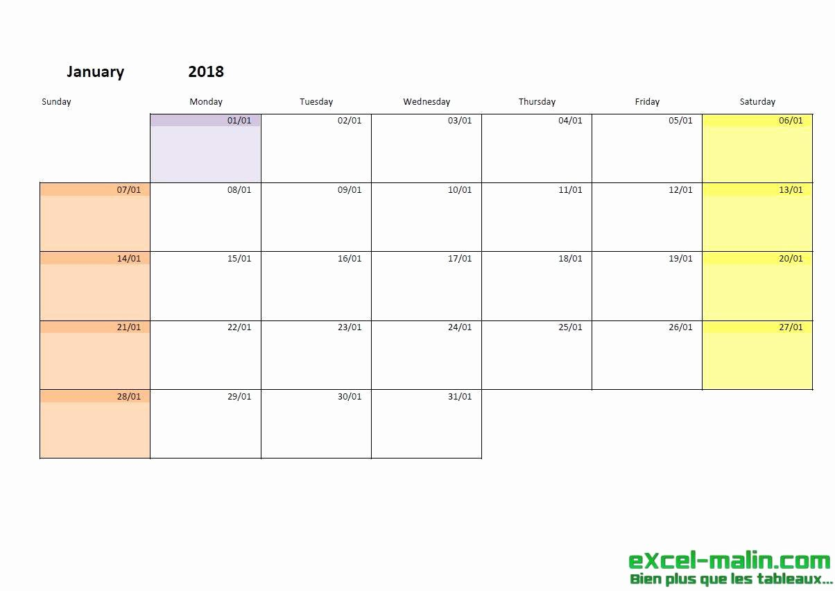 Monthly Calendar Schedule Template Unique Printable Monthly Calendar Template for Excel