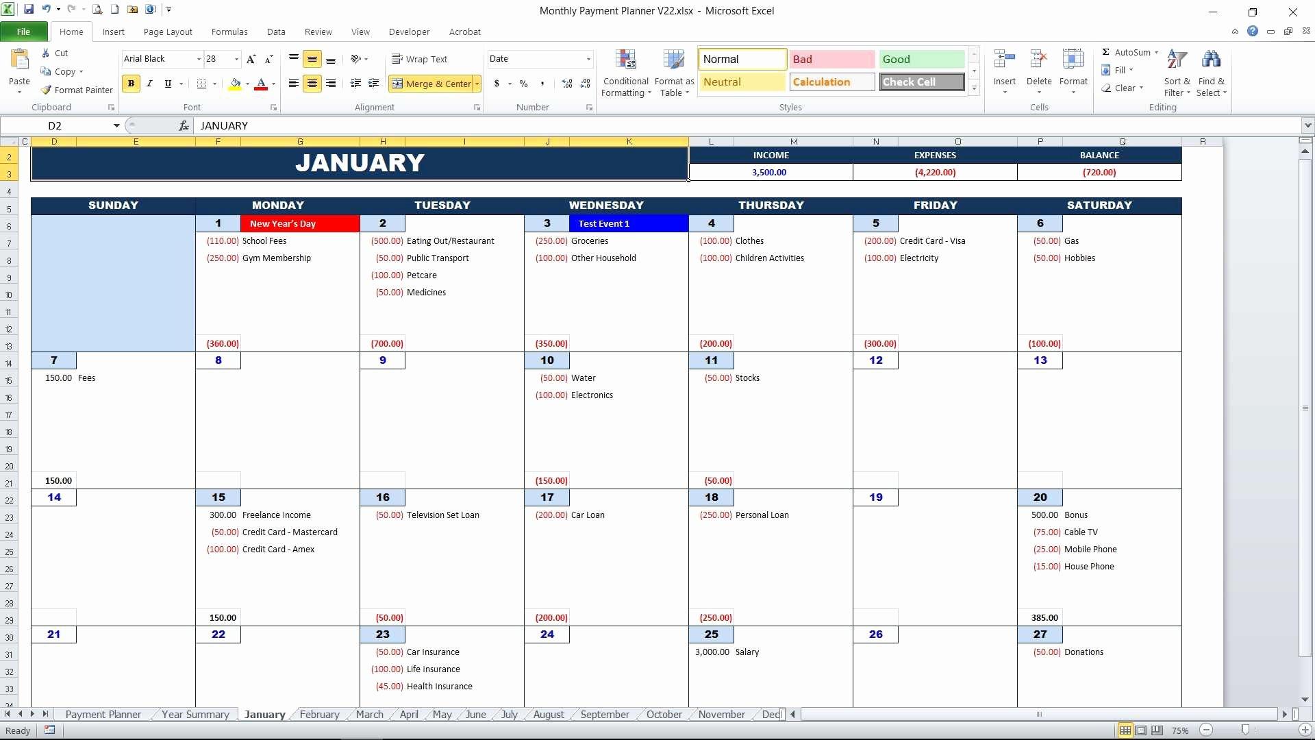 Monthly Payment Schedule Template Beautiful Bill Payment Calendar