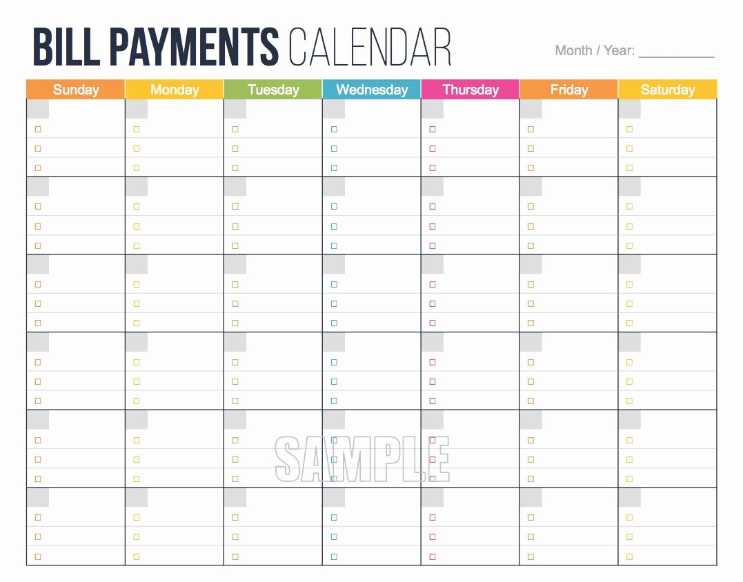 Monthly Payment Schedule Template Luxury Bill Payments Calendar Editable Personal Finance