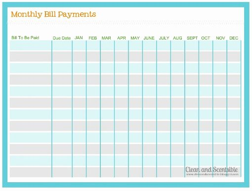 Monthly Payment Schedule Template New How to organize Paperwork and Bills Clean and Scentsible