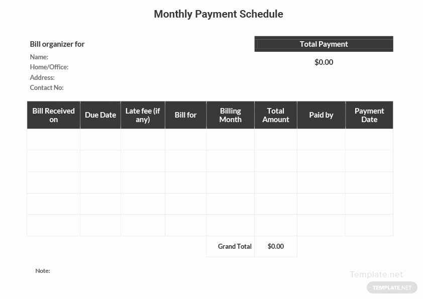 Monthly Payment Schedule Template New Monthly Payment Schedule Template In Microsoft Word Excel