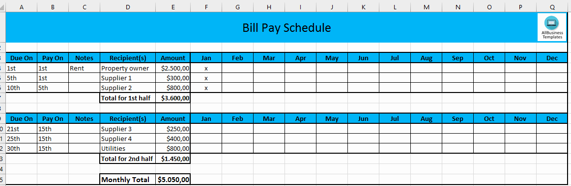 Monthly Schedule Template Excel Fresh Monthly Payment Schedule In Excel