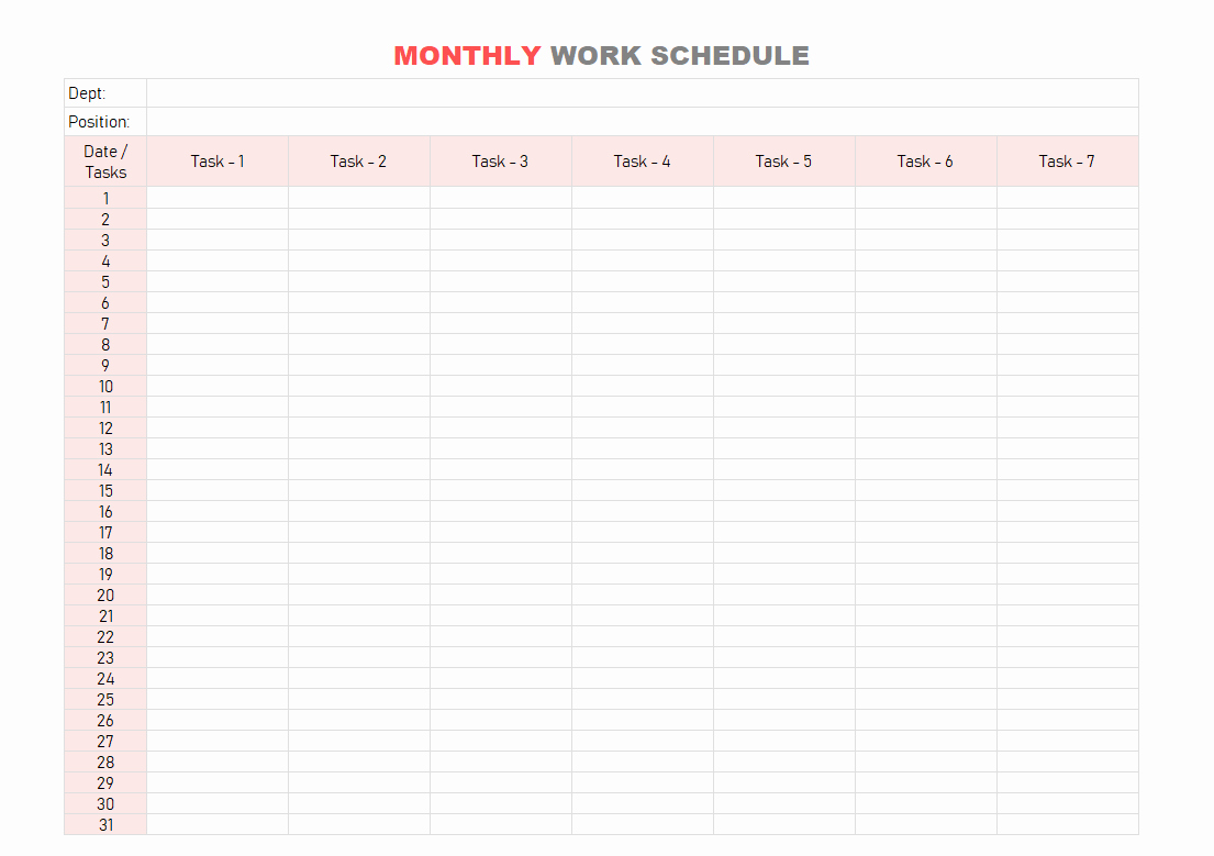 Monthly Schedule Template Excel Fresh Work Schedule Template Daily Weekly