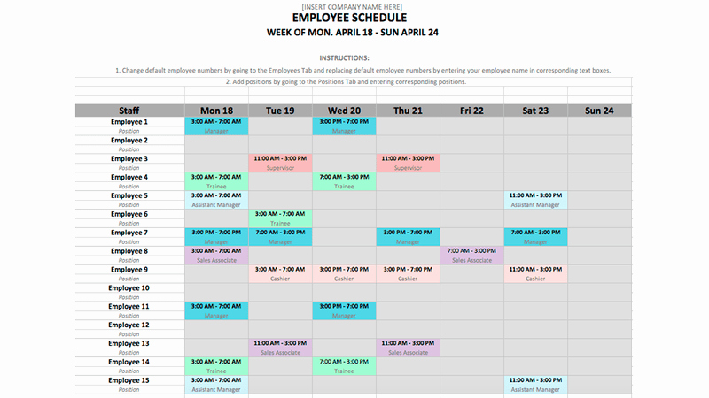 employee schedule template in excel and word format