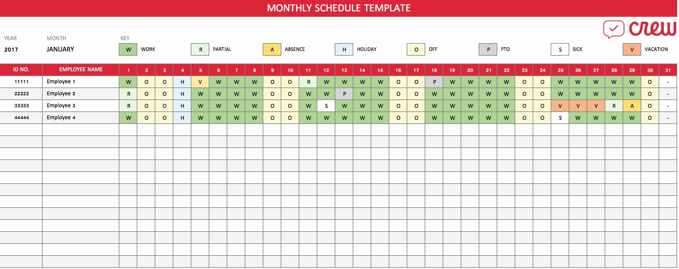 Monthly Schedule Template Excel New Free Monthly Work Schedule Template Crew