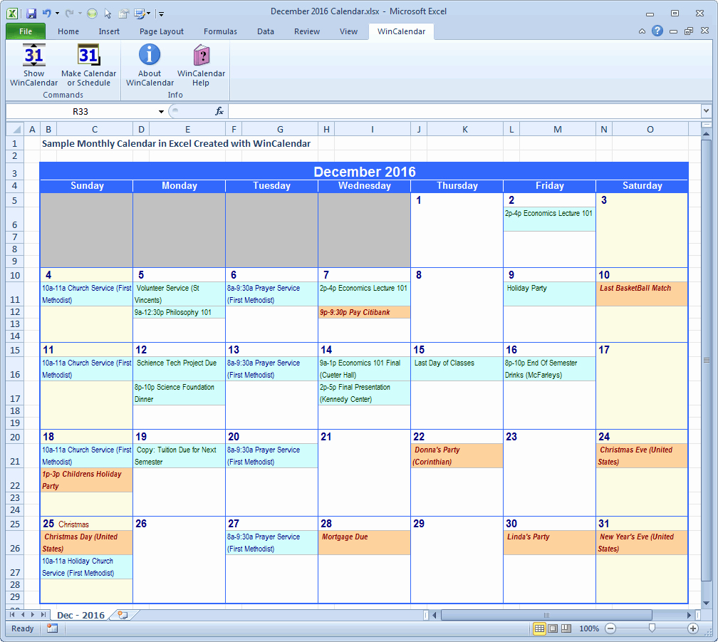 Monthly Schedule Template Excel New Wincalendar Excel Calendar Creator with Holidays