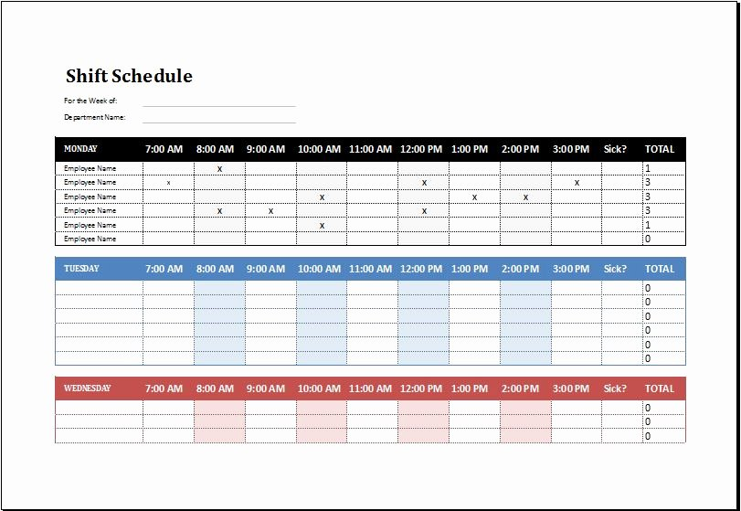 Monthly Shift Schedule Template Lovely Employee Shift Schedule Template Ms Excel