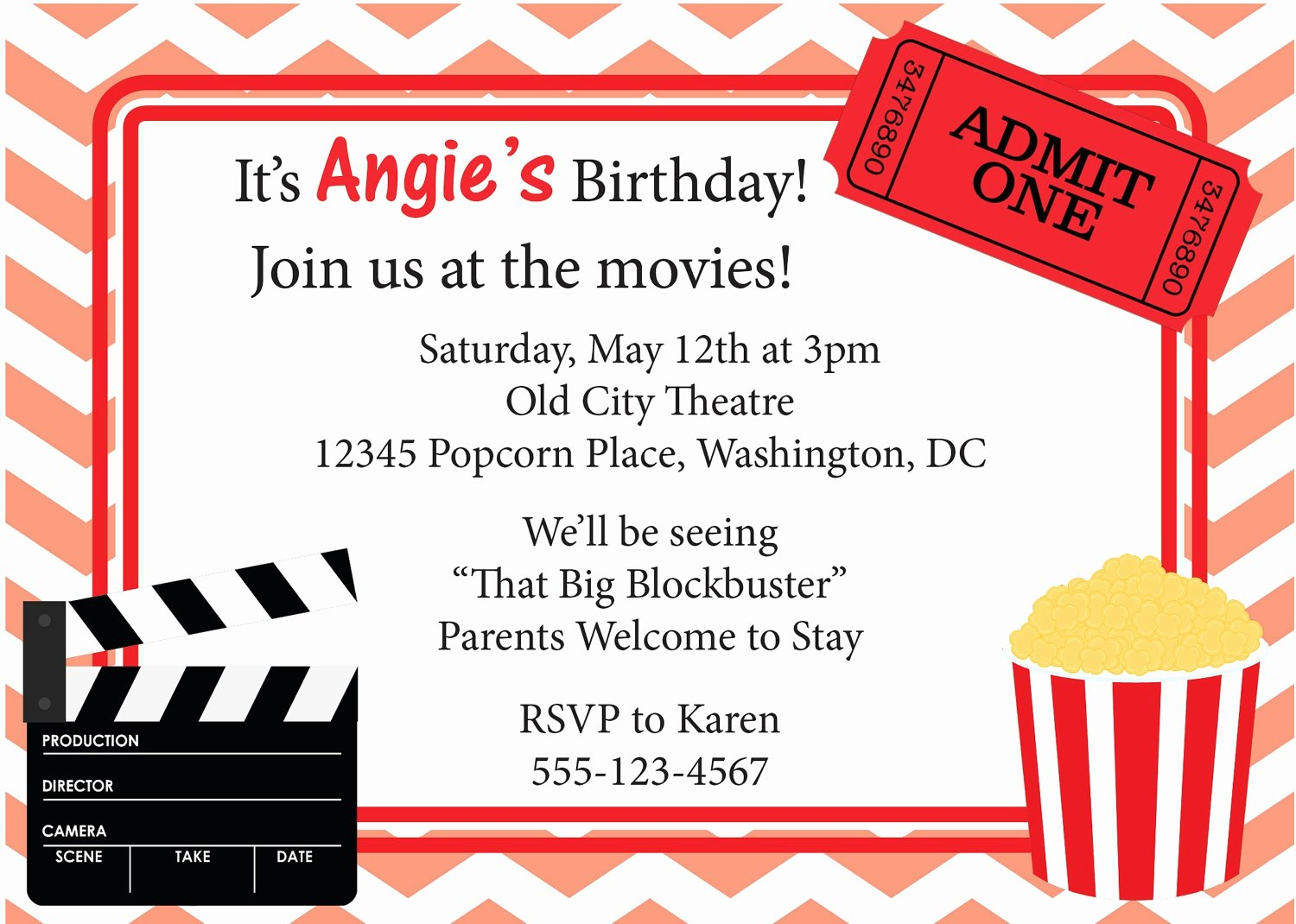 Movie Party Invitations Template Awesome Free Movie Ticket Invitation Template Free Excel Template