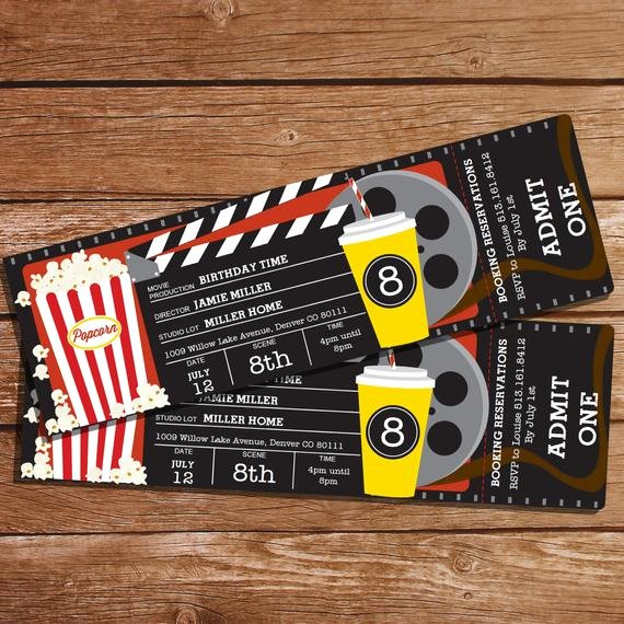 Movie Party Invitations Template Awesome Movie Party Invitation Movie Ticket Invitation Instant